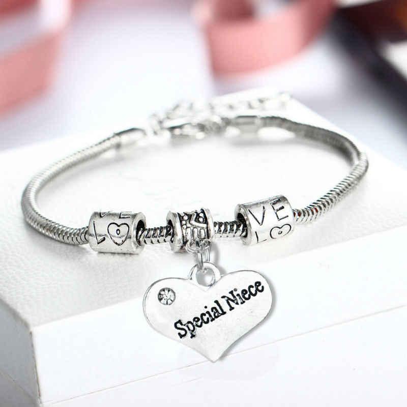 Семья мама папа сестра племянница браслет сердце любовь Талисманы браслет Best друг день рождения Для женщин Для мужчин Jewelry отца/мать подарок на день