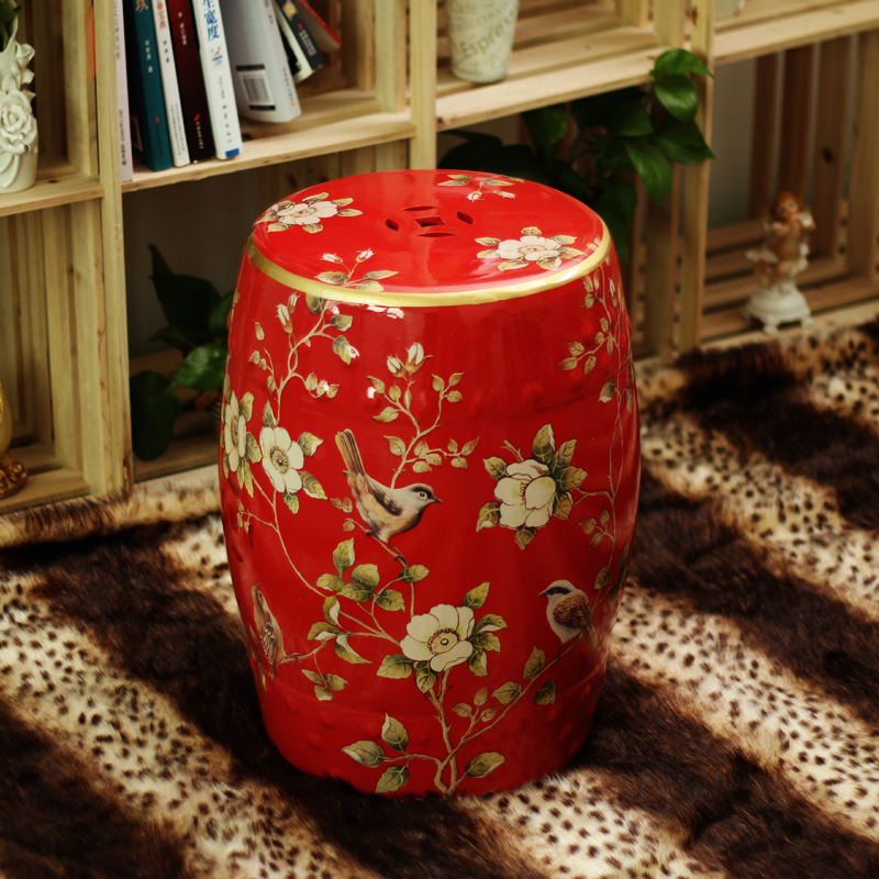 все цены на Fashion ceramic red stool with bird and flower design for lucky stool онлайн