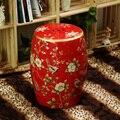 Moda cerâmica fezes fezes com pássaro e flor de design para sorte vermelho