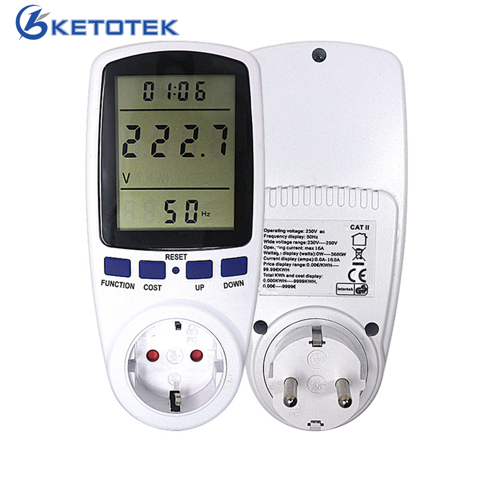 De corriente de enchufe de la UE medidor Digital vatímetro Watt Monitor el consumo de electricidad Analizador de energía medidor de energía de hembra