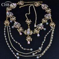 Czoło Zespół Chran Bridal Rhinestone Dynda Topknot Maang tikka Deco Chluba Włosów Stroik Szef Łańcuch Biżuteria HDC2021