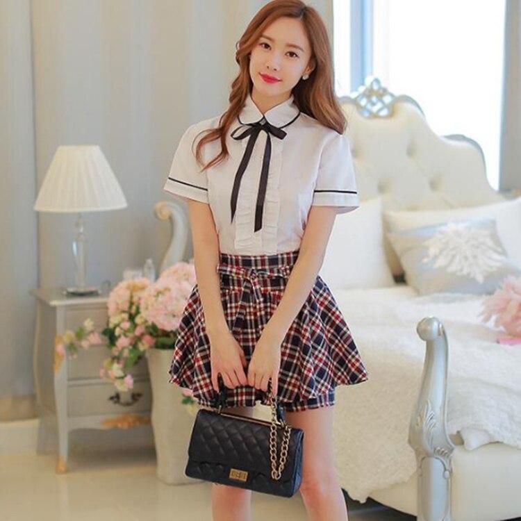 uniforme scolaire japonais mignon uniforme scolaire coréen pour les filles chemise à manches courtes jupe à carreaux uniformes scolaires pour filles fille