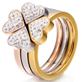 Gorgeous Three Ring Set Stainless Steel Silver, Gold, Rose Gold Crystal Clover Ring