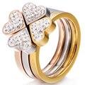 Lindo Conjunto de Três Anéis de Aço Inoxidável Prata, ouro, Ouro rosa de Cristal Anel Trevo