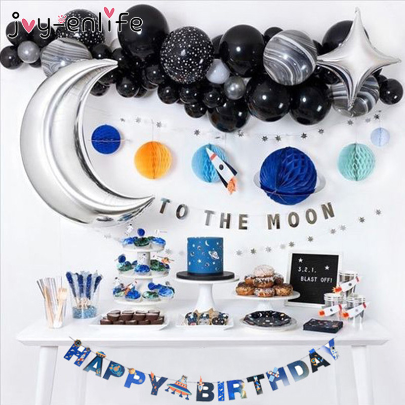 Solar System Outer Space Themed Birthday Party Decoration Paper Plate Cups Napkin Banner Whirls For Kids Planet Themed Party(China)
