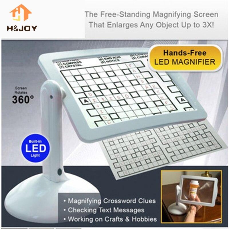 Schermo A LED Pagina Magnifier Visualizzatore di Lettura Dello Schermo Più Luminoso Loupe Hands-Free LED Magnifier Dare ai genitori regali