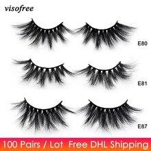 100 쌍 무료 dhl visofree 25mm 속눈썹 극적인 밍크 속눈썹 소프트 롱 3d 밍크 속눈썹 crisscross full volume eye lashes makeup