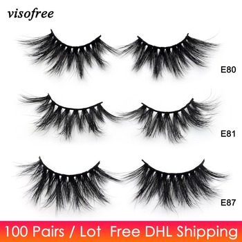 100Pairs Free DHL Visofree 25mm Lashes Dramatic Mink Lashes Soft Long 3D Mink Eyelashes Crisscross Full Volume Eye Lashes Makeup