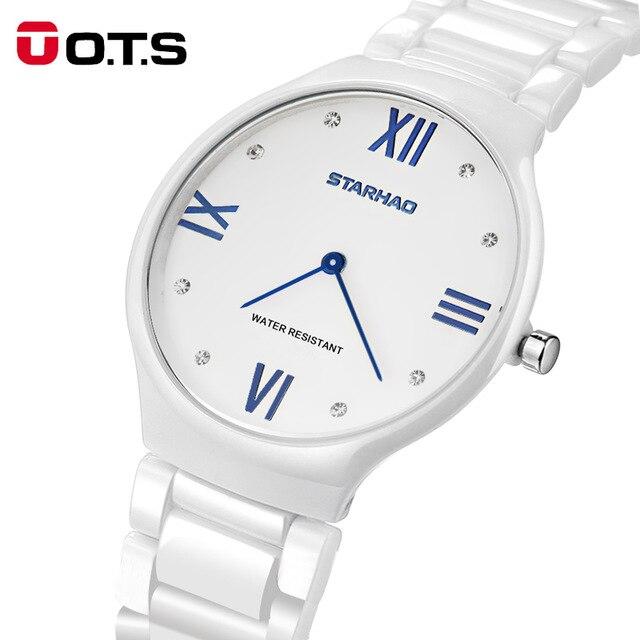 นาฬิกาของคนรัก2017มาใหม่สุภาพสตรีเลียนแบบเซรามิกนาฬิกาหรูสร้อยข้อมือทองด้วยโลหะผสมที่ดีส...