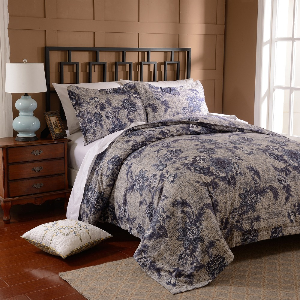 Freeshipping Deal 3pcs Duvet Cover Set Microfiber Luxury Printed Navy Blue Include Quilt Pillow Cases Twin Queen King In Bedding Sets From Home