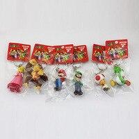 6Pcs Set Super Mario Bros Figure Donkey Kong Yoshi Peach Mario Luigi Toad PVC Figures Toys
