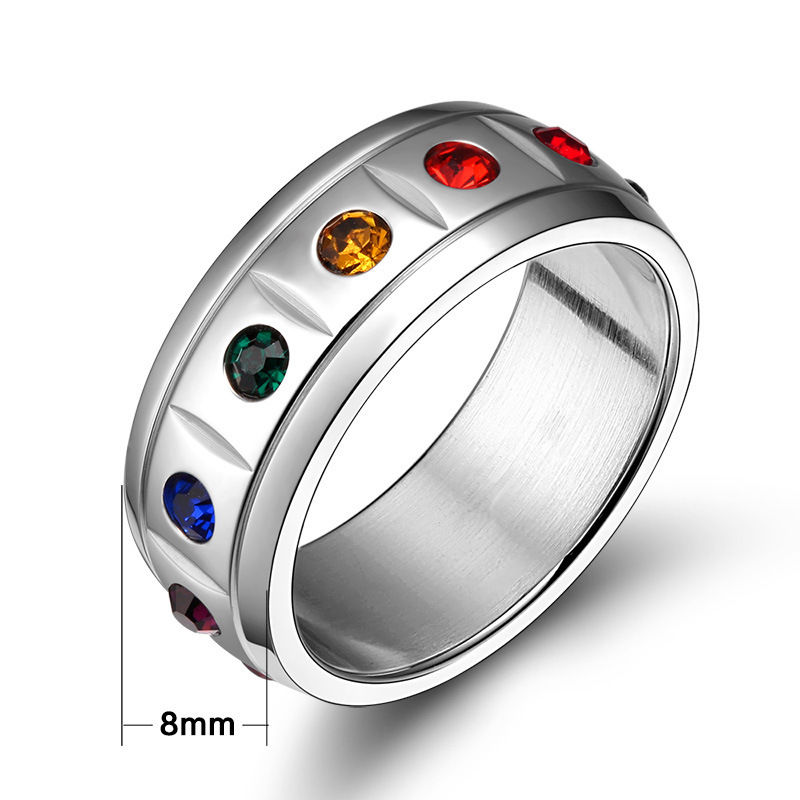 Sz 6-12 Multicolour Zircon Titanium Steel Punk Women's Engagement Wedding Band Ring Jewelry