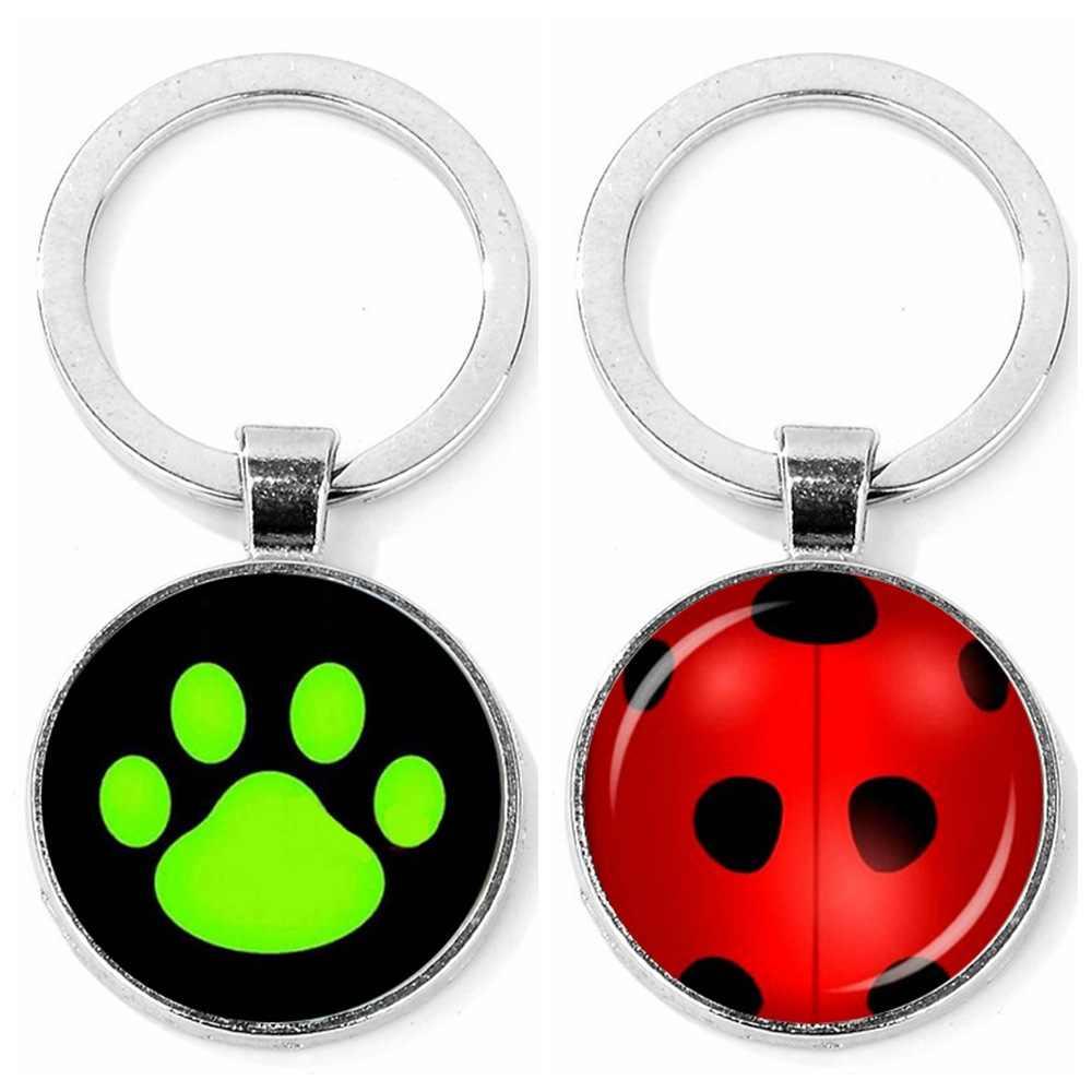 Seven star ladybug สาวสีดำแมว noor สีเขียวหมี PAWS key chain อัญมณี Cabochon จี้ส่วนบุคคลของขวัญ