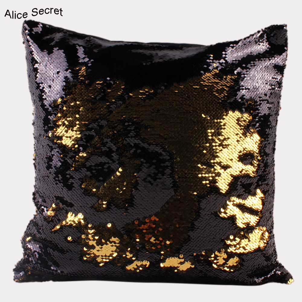 Hot New Fashion Beauty Double 40X40CM Glitter Sequins Shiny Throw Pillow Case Cafe Home  ...