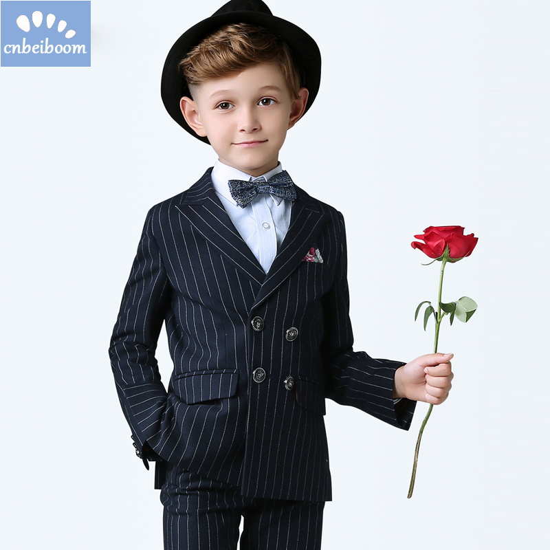 (jacket+pants+vest+shirts) Baby Suits Wedding Clothing Sets Blue stripe Formal slim fit Prom Party Dress Children blazer Clothes