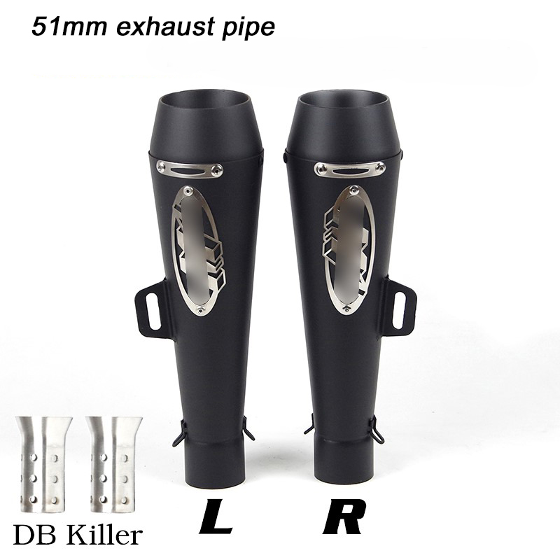 Moto Modified Exhaust Muffler Pipe for 51mm Motorcycle Right And Left Side Silencer System DB Killer