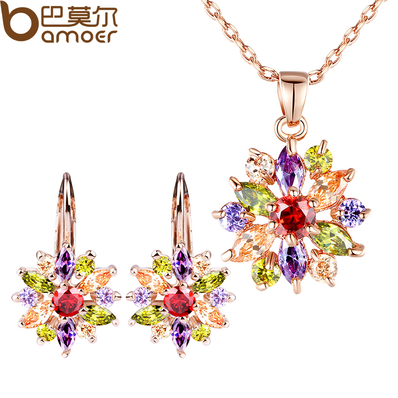 BAMOER Luxury Gold Color Flower Jewelry Sets For Women Wedding with Colorful AAA Cubic Zircon nandudu luxury rose gold color ring with for women wedding aaa zircon crystal rings jewelry r1814