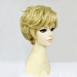 Image 3 - Sailor uranus tenoh haruka peruca cosplay, peruca curta de linho loira de cabelo sintético, resistente ao calor, fantasia + touca