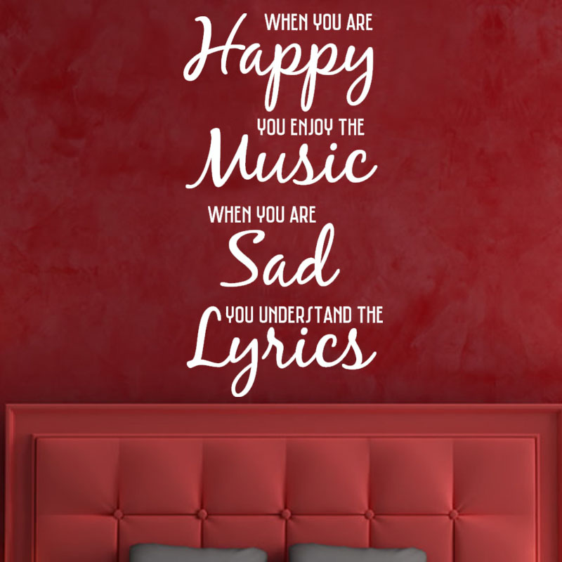 Happy Music Sad Lyrics Vinyl Art Wall Decal Removable Home Decor DIY Living Room Sticker Character