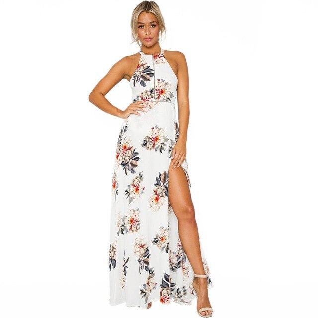 2019 vrouwen halter hals chiffon jurk bloemenprint mouwloze split