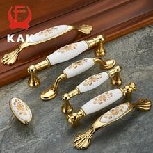 KAK золотые цветочные керамические ручки для шкафов из цинкового сплава ручки для выдвижных ящиков дверная ручка для шкафа модное Европейское оборудование для обработки мебели