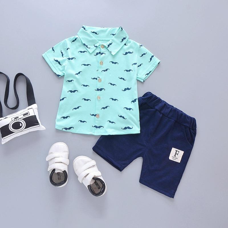 Spædbarn Baby Drengetøj Beklædningsgenstande Skal T-shirt med korte ærmer Toppe + Navybukser Børnetøj Sæt Småbarnsstoffer Babypiger Tøj