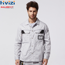 Men Workwear shirt Multi pockets Longsleeved Work clothes uniforms Male mechanic construction overalls B229