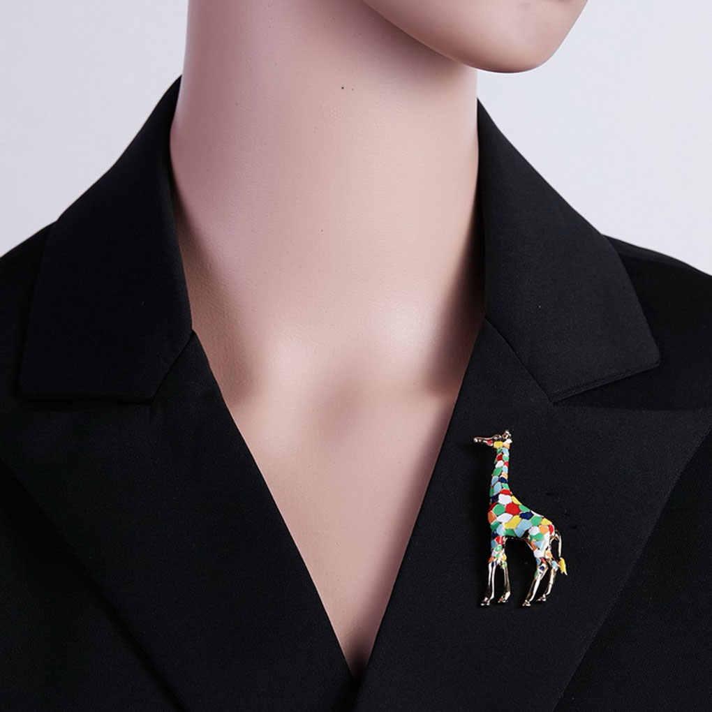 Indah Kartun Jerapah Bros Perempuan Lucu Hewan Bros Pin Fashion Perhiasan Hadiah Anak-anak Indah Bros
