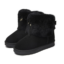Women Boots Winter Warm Cow Leather Shoes Plush Fur Flat Slip on Ankle Snow Boots Women