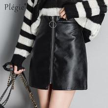 092c9f10931 Plegie automne hiver décontracté PU cuir jupe femmes élégant Zipper Mini  a-ligne jupe dame Skinny taille haute jupes noir 3XL
