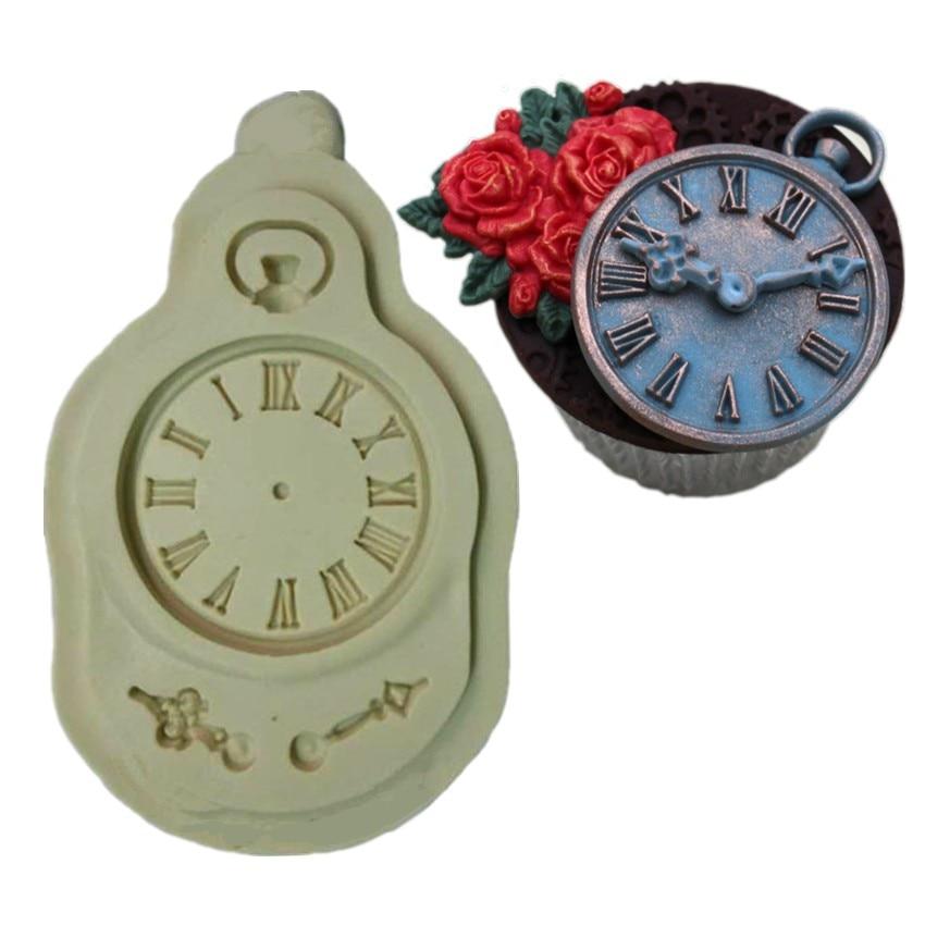 Reloj de Bolsillo Reloj de La Magdalena Fondant Molde De silicona Molde de La To