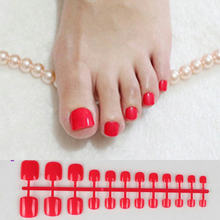 Sexy Red Press On Nails Feet Square Glossy Short Fake Toe Nails For Girls Acrylic Nail False Artificial Without Glue(China)