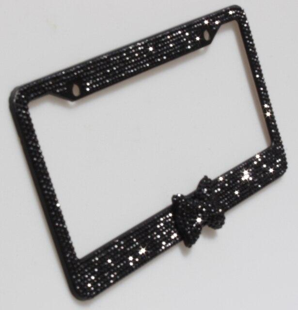 Pure Handmade Bling License Plate Frame For Women Black Bowknot Bow ...