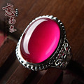 2017 new Natural semi-precious stone Love the Thai genuine 925 sterling silver red corundum rings retro girlfriend gift