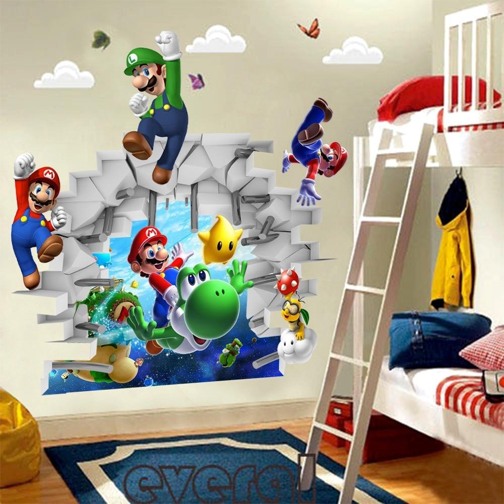 Aliexpress.com: Compre Zooyoo Dos Desenhos Animados Super Mario Bros  Adesivos De Parede Decoração Do Quarto Menino Crianças Da Arte Do Decalque  Mural Home ... Part 37