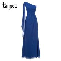 Tanpell One Shoulder Evening Dress Royal Blue Sleeveless Straight Floor Length Dresses Women Long Party Formal