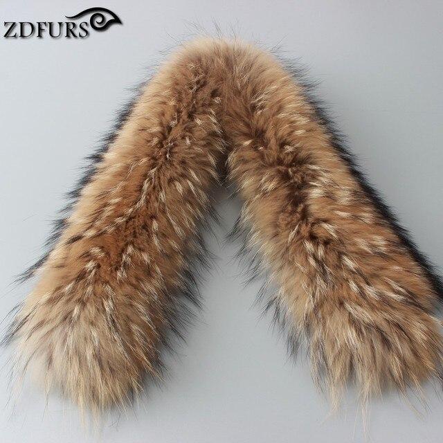 Настоящее меховым воротником 100% подлинные мех енота шарф 80 см зима для женщин горячий продавать высокое качество воротник