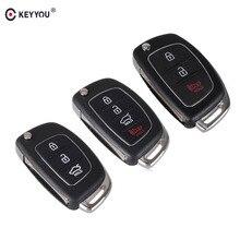 KEYYOU 10PCS Remote Key Case Fob 3 Button Flip Folding Key Shell For Mistra Hyundai Solaris ix35 ix45 Series 2 Verna Santa Fe