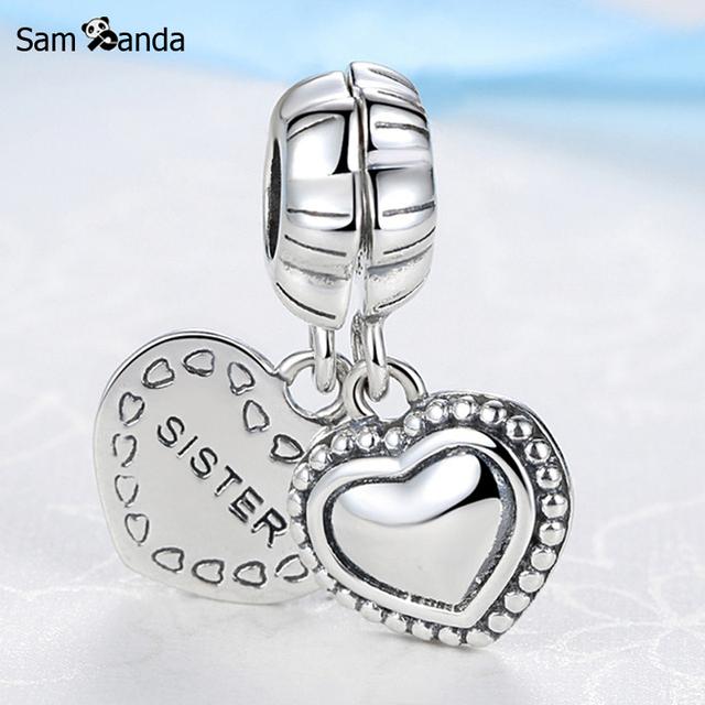Um par Authentic 925 Steling Prata charme Talão Coração Querida irmã pingente beads fit pandora bracelet & bangle jóias diy SS2930