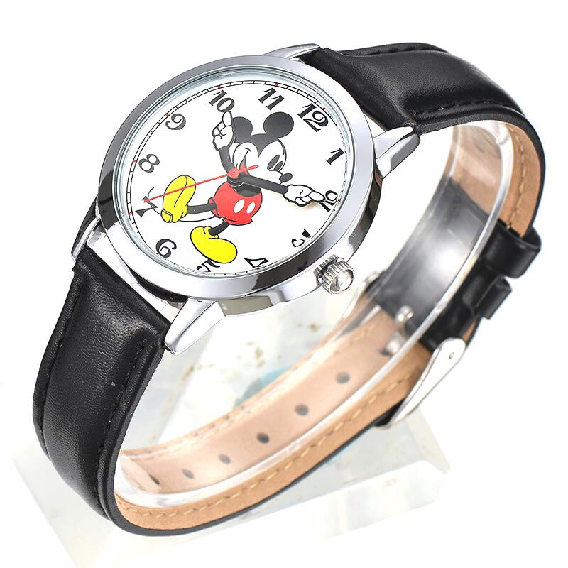 Image 2 - Original Disney Women Quartz Round Watch Authentic Mickey Mouse Cutie Love Fashion Clock Ladies Leather Band Watches Best Gift-in Women's Watches from Watches