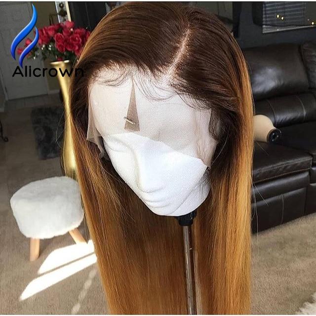 ALICROWN pelucas de cabello humano con encaje frontal ombré 1b/27, pelo Remy brasileño, 13x4, pelucas de encaje prearrancadas con nudos blanqueados de pelo de bebé