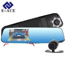 Nueva E-ACE Full HD 1080 P Dash Cam Cámara Del Dvr Del Coche Del Espejo con Auto Grabador de Vídeo Dual de la Lente Dvr y cámara de Visión Trasera 6 Led luz