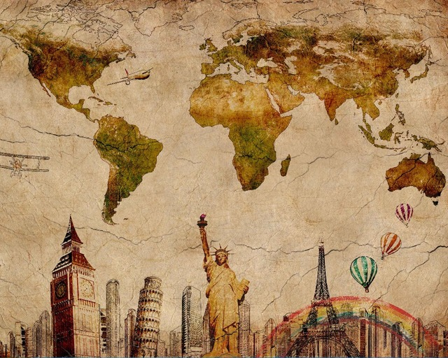 Vintage World Map Retro Paris London Liberty NYC Wall Sticker 20x16 ...