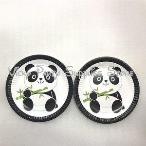 Image 4 - 112 pcs/lot dessin animé Panda thème fête danniversaire jetable vaisselle ensemble assiettes serviettes fête fournisseurs décorations