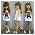 2 pcs Criança Crianças Bebê Menina Roupas de Verão Top T-shirt + Calças de Leopardo Roupas Definir Frete grátis