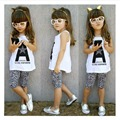 2pcs Toddler Kids Baby Girl Outfits Summer Top T-shirt+Leopard Pants Clothes Set Free shipping