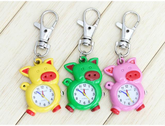 Free shipping color pig Quartz Pocket Watch Necklace Pendant Womens Men children