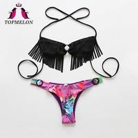 TOPMELON Bikini Swimsuit Women Halter Tassel Floral Micro Black Beachwear Bathing Suit Brazilian Bikini Biquini Swimwear