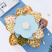 Novo 2 camada de plástico caixa de armazenamento sementes nozes doces frutas secas caixa recipiente rotativa petal-forma lanche crianças almoço caso organizador