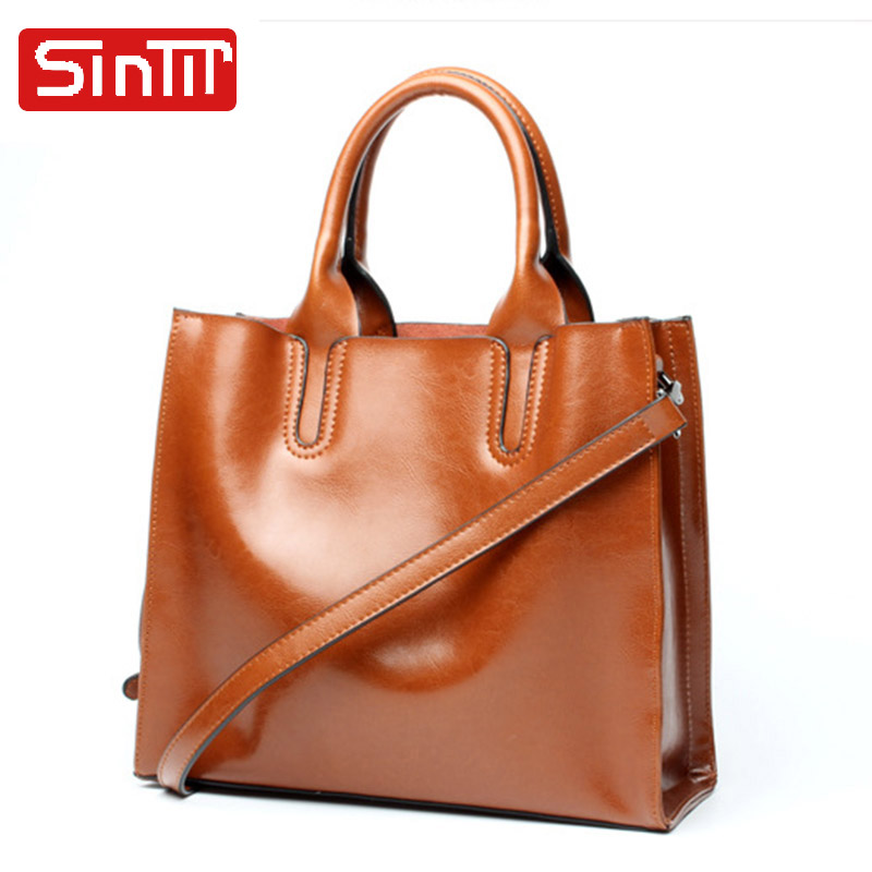 SINTIR Vintage Genuine Leather Women Handbags Large Capacity Female Shoulder Bags Real Cow Leather Casual Ladies Messenger Bags cossloo women genuine sheepskin leather handbags messenger bags real leather handbags fashion large shoulder bags free shipping